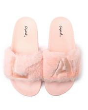 Qupid - Faux Fur LA Slide Sandals-2364916