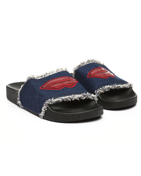 Fashion Lab - Denim Slides W/ Lip Patch