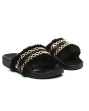 Fashion Lab - Faux Fur W/ Chains Slip-On Sandals-2364897