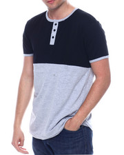 Henleys - Mens Color Block Henley Shirt-2334630