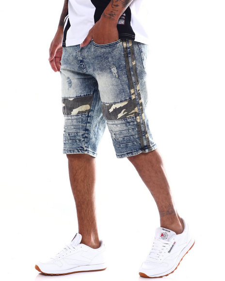Buyers Picks - Acid wash Camo insert denim Short