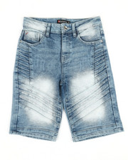 Boys - Moto Pin-Tuck Detailed Denim Shorts (8-20)-2366677