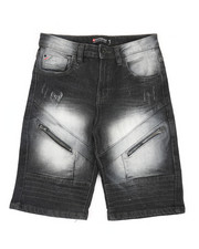 Boys - Front Zipper Detailed Denim Shorts (8-20)-2366670