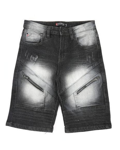 Arcade Styles - Front Zipper Detailed Denim Shorts (8-20)