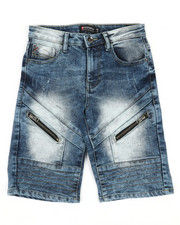 Arcade Styles - Front Zipper Detailed Denim Shorts (8-20)-2366691