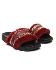 Fashion Lab - Faux Fur W/ Chains Slip-On Sandals-2364903
