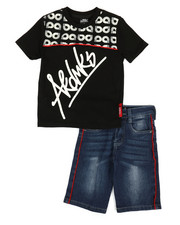 Sizes 8-20 - Big Kids - 2 Pc Tee & Piping Denim Shorts Set (8-20)-2366773