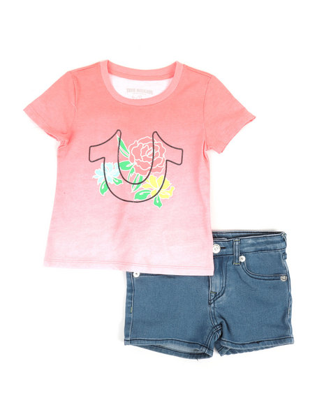 True Religion - 2 Piece HS Tee & Denim Shorts Set (4-6X)