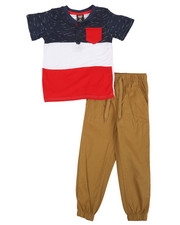 Arcade Styles - 2 Pc Henley Shirt & Twill Jogger Pants Set (4-7)-2366729