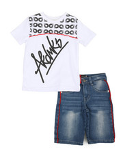 Sizes 8-20 - Big Kids - 2 Pc Tee & Piping Denim Shorts Set (8-20)-2366783
