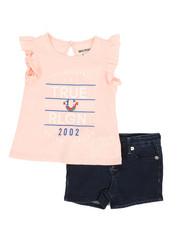 Girls - 2 Pc Flutter Tee & Denim Shorts Set (4-6X)-2366762