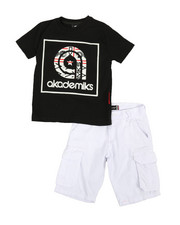 Sizes 8-20 - Big Kids - 2 Pc Tee & Twill Cargo Shorts Set (8-20)-2366793