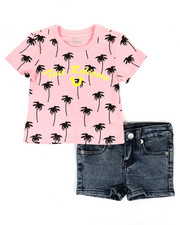 Sizes 2T-4T - Toddler - 2 Piece Allover Palm Tee & Denim Shorts Set (2T-4T)-2366758