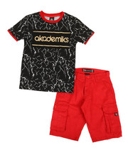 Sizes 8-20 - Big Kids - 2 Pc Tee & Twill Cargo Shorts Set (8-20)-2366809