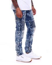 Jeans & Pants - STRETCH MOTO BLEACH SPLATTER DARK WASH JEAN-2368103