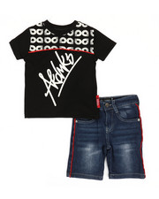 Boys - 2 Pc Tee & Piping Denim Shorts Set (2T-4T)-2367761