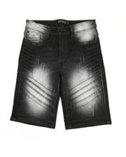 Boys - Moto Pin-Tuck Detailed Denim Shorts (8-20)-2367960