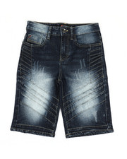 Boys - Moto Pin-Tuck Detailed Denim Shorts (8-20)-2367967