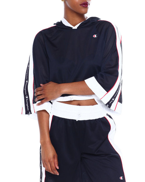 Champion - Hooded Cropped Mesh Top