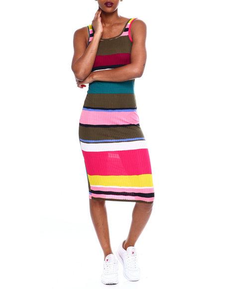 Fashion Lab - Double Scoop Stripe Midi Tank Dress