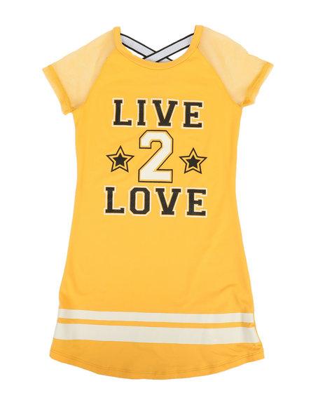 La Galleria - Solid DTY Dress W/Mesh (4-6X)