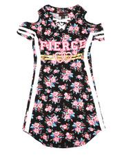 Girls - Printed Dress W/ Cold Shoulders (7-16)-2368770