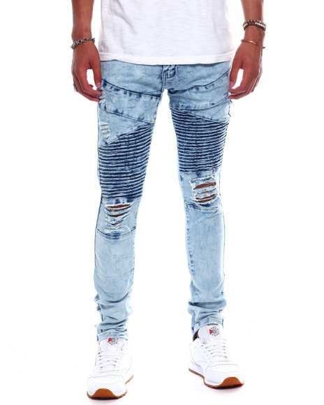 Buyers Picks - Distressed Marble Wash Moto Jean