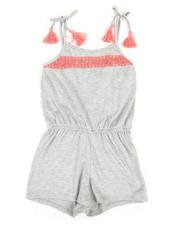 Girls - Solid Jersey Romper W/ Lace Yoke (7-16)-2368190