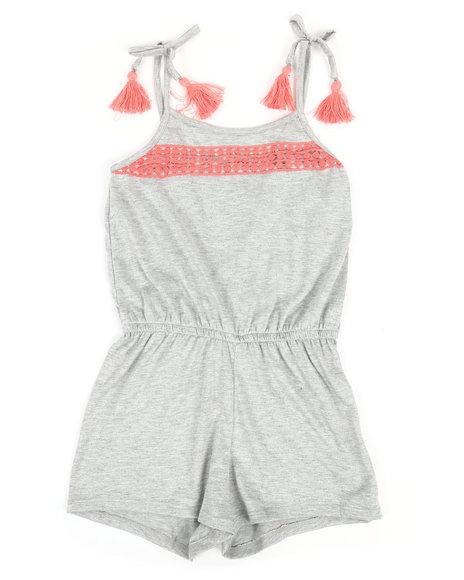 La Galleria - Solid Jersey Romper W/ Lace Yoke (7-16)