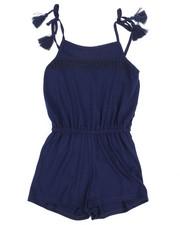 Girls - Solid Jersey Romper W/ Lace Yoke (7-16)-2368166