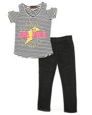 Girls - 2pc Cold Shoulder Top & Leggings Set W/ Necklace (4-6X)-2367808