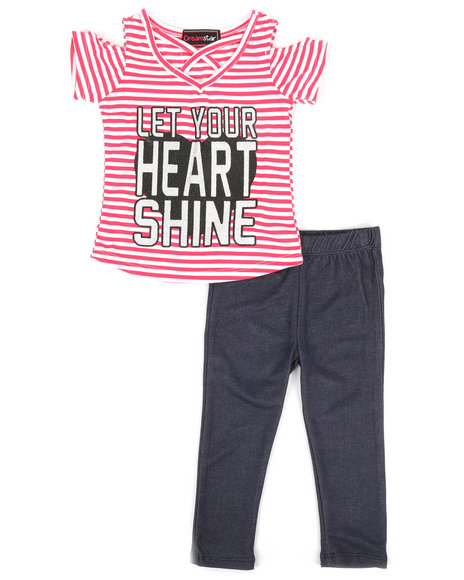 La Galleria - 2pc Cold Shoulder Top & Leggings Set (2T-4T)