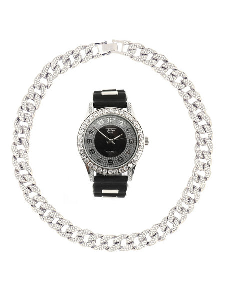 Buyers Picks - Watch And Iced Out Cuban Necklace Gift