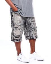 Big & Tall - Zip Trim Ripped Denim Shorts (B&T)-2368821