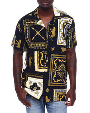 Shirts - ABSTRACT GOLD TILE SS WOVEN SHIRT-2371814
