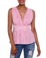 Women - Stripe S/L Vnk Cut Out Side Top-2371640