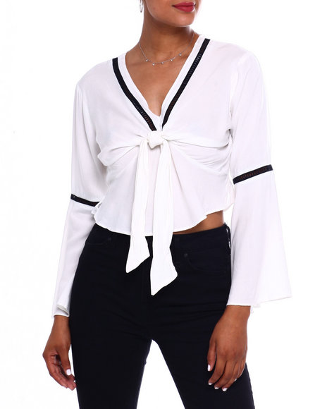 Fashion Lab - Tie Frt Bell Slv Crop Blouse W/Cutout Detail