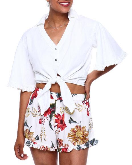 Fashion Lab - Button Down Tie Frt Ruffle Trim Slv Blouse