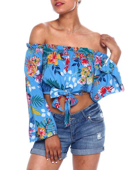Fashion Lab - Flrl Print Off Shoulder Bell Slv Tie Frt Crop Blouse