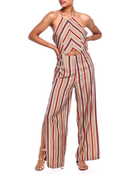 Fashion Lab - Chevron Stripe Cut Out Frt Halter Jumpsuit