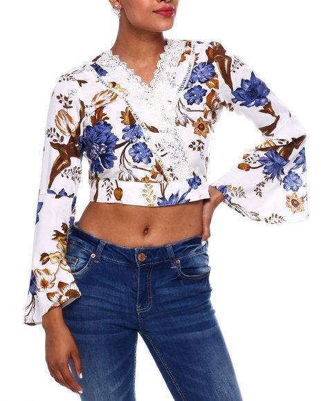 Fashion Lab - Flrl Bell Slv Lace Trim Surplice Tie Bk Blouse