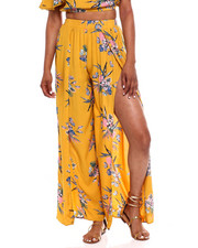 Women - Floral Slit Side Wide Leg Pant-2372445