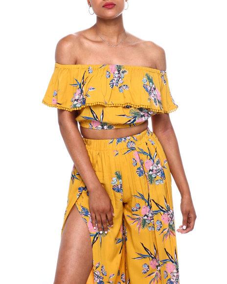 Fashion Lab - Floral Off Shoulder Crop