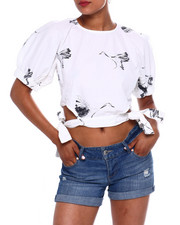 Fashion Lab - Bird Prt S/S Tie Cut Out Side Top-2371635