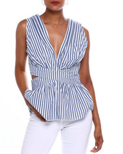 Fashion Lab - Stripe S/L Vnk Cut Out Side Top-2371645