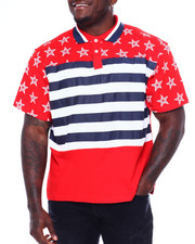 SWITCH - Cut Block Stripe Print Polo W/Star Print (B&T)-2373576