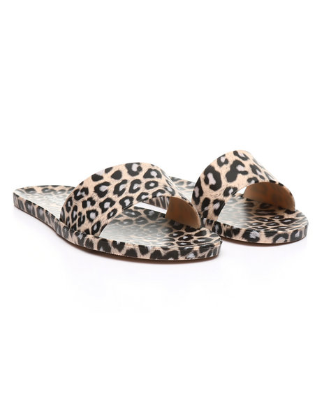 Fashion Lab - Animal Print Flat Slip-On Slide Sandals