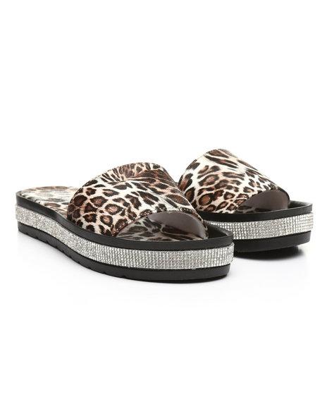 Fashion Lab - Leopard Rhinestone-Accent Temple Slide Sandals