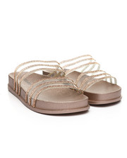 Footwear - Transparent Rhinestone Double Band Open Toe Slide Sandals-2373840