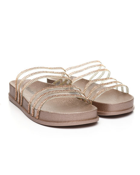 Fashion Lab - Transparent Rhinestone Double Band Open Toe Slide Sandals